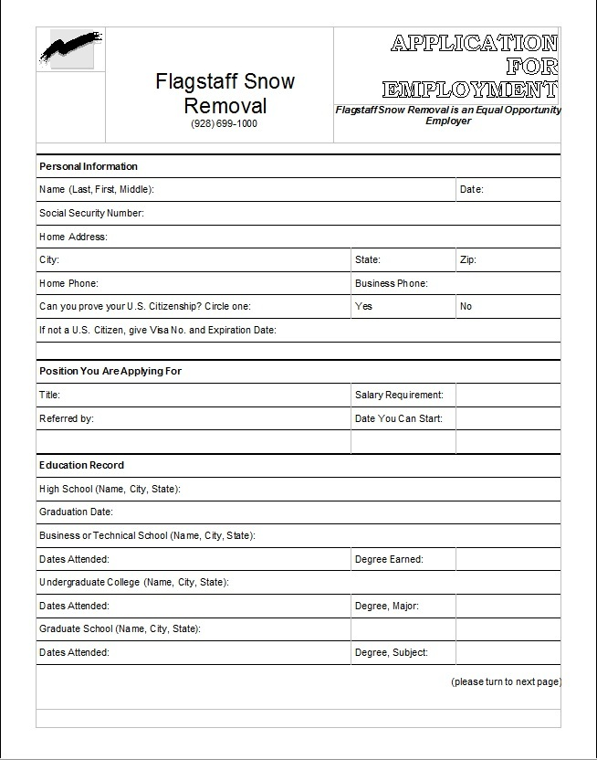 flagstaff snow removal employment application you can print from